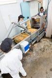 Apicoltori che lavorano a Honey Extraction Plant Fotografia Stock Libera da Diritti
