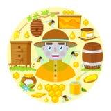 Apiculteur et objets de l'apiculture photo libre de droits
