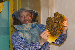 Apicultor feliz con los panales El apicultor recoge un enjambre Imagen de archivo libre de regalías