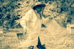Apicultor mayor que hace la inspección en colmenar en la primavera Imagenes de archivo