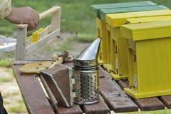 Apicultor que trabaja con la colmena de acoplamiento Foto de archivo libre de regalías