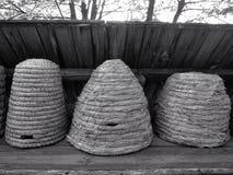 Apicultura del brezo, colmenas de la paja, colmenas Fotos de archivo