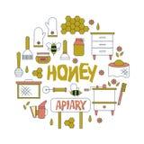 Apicultura, iconos de la apicultura El equipo del apicultor, miel que procesa, abeja, colmenas mecanograf?a, los productos natura stock de ilustración