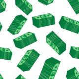 Apila el fondo inconsútil del modelo del efectivo euro Vect plano del negocio Imagen de archivo libre de regalías