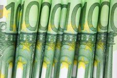 Apilado cientos cuentas euro, dinero europeo Imagen de archivo libre de regalías