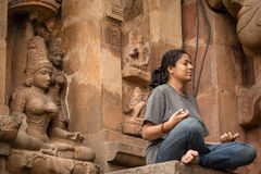 Aping Meditation. This picture was taken in our trip to tanjore Royalty Free Stock Photography