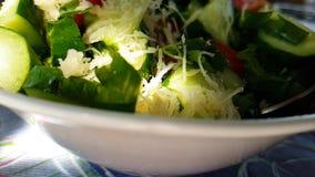 Apio de la ensalada del pepino que prepara el tiro de la cámara lenta de los tomates del aperitivo almacen de metraje de vídeo