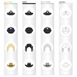 Apirate`s cocked hat, a police cap, a judge`s wig, a cowboy. Hats set collection icons in cartoon black monochrome Royalty Free Stock Photos