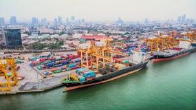 Apirl 05,2018: Powietrzny odgórny widok od trutnia ładunku statku, logistyki Obraz Stock