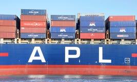 Apl-Frachtschiff PRÄSIDENT abreisender KENNEDY der Hafen von Oakland stockfotos
