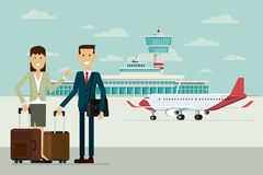 Aplane em chegadas do aeroporto e em executivos do homem e as mulheres com Imagens de Stock