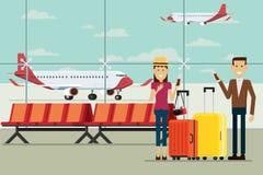 Aplane em chegadas do aeroporto e homem e mulheres dos povos com mala de viagem Fotografia de Stock Royalty Free