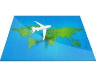 Aplane o mapa do mundo com conceito de tridimensional Fotos de Stock