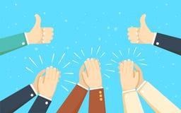 Aplauso de mãos humano aplauda as mãos Ilustração do vetor Fotos de Stock Royalty Free