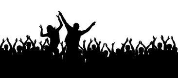 Aplauzów ludzie Tłumu doping ręce do góry ilustracja wektor