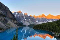 Aplenglow at Lake Moraine. Classic view of world famous Lake Moraine, Canada Royalty Free Stock Photo