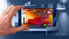 Aplicação aumentada da realidade do smartphone que o deixa colocar a mobília virtual a sua casa real antes de comprar Homem imagem de stock