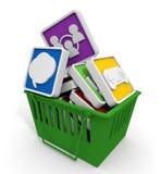 Aplicação/compra/cesta Fotos de Stock Royalty Free