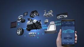 A aplicação da gestão do diagnóstico do carro usando o telefone móvel, esperto, veículo parte, motor, assento da segurança, paine