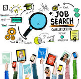 Aplicação de aluguer C de Job Search Qualification Resume Recruitment imagens de stock royalty free