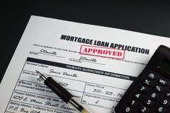 A aplicação de empréstimo hipotecário aprovou 001 Fotos de Stock Royalty Free