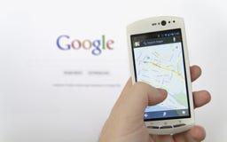 Aplicação de Google Maps Fotografia de Stock