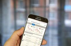Aplicação do androide de The Financial Times com dados dos mercados Imagens de Stock Royalty Free