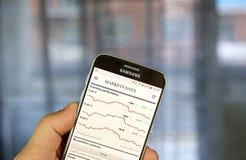 Aplicação do androide de The Financial Times com dados dos mercados Fotografia de Stock Royalty Free
