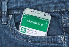 Aplicação do androide de Microsoft Excel Imagem de Stock Royalty Free