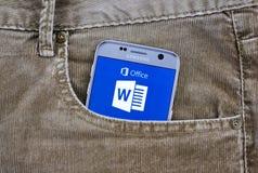 Aplicação do androide de Microsoft Word Fotos de Stock