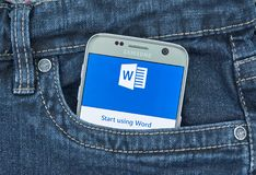 Aplicação do androide de Microsoft Word Imagem de Stock Royalty Free