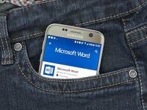 Aplicação do androide de Microsoft Word Fotografia de Stock