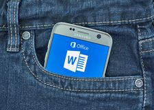 Aplicação do androide de Microsoft Word Imagens de Stock