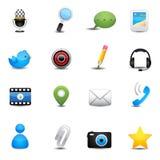 Aplicação do bate-papo e ícones sociais dos meios Imagem de Stock