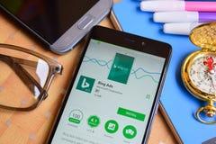 Aplicação do colaborador de Bing Ads na tela de Smartphone fotografia de stock