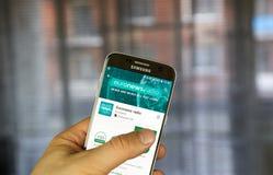 Aplicação do móbil de Euronews Foto de Stock Royalty Free
