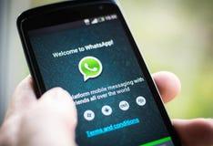 Aplicação do móbil de WhatsApp Fotografia de Stock