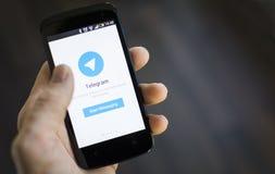 Aplicação do móbil do telegrama Foto de Stock