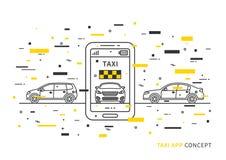 Aplicação do táxi na ilustração do vetor do telefone celular Foto de Stock