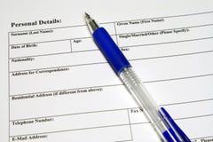 Aplicação e formulário pessoal dos detalhes Fotos de Stock Royalty Free