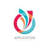 Aplicação - ilustração do conceito do logotipo do negócio do vetor Anel colorido com formas abstratas Geométricos positivos assin Foto de Stock Royalty Free