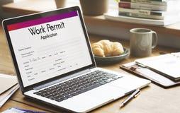 Aplicação Job Employment Concept da autorização de trabalho imagem de stock royalty free