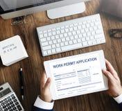 Aplicação Job Employment Concept da autorização de trabalho foto de stock royalty free