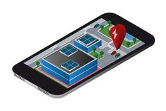 Aplicação a procurar por estações de carregamento dos veículos elétricos ilustração stock