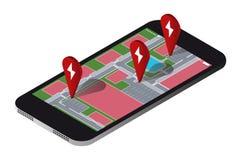 Aplicação a procurar por estações de carregamento dos veículos elétricos ilustração do vetor