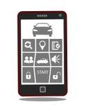 Aplicação remota do telefone celular do acionador de partida ou do sistema de controlo do carro Fotografia de Stock Royalty Free