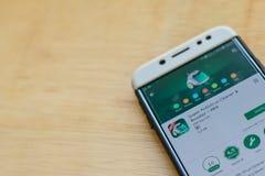 Aplicação super do colaborador do líquido de limpeza do Antivirus na tela de Smartphone Impulsionador - o max é um web browser do fotografia de stock royalty free
