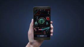 Aplicação tocante do diagnóstico dos cuidados médicos no telefone móvel, esperto, cérebro de varredura, coração, pulmões, órgãos