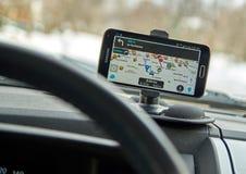 Aplicação Waze de GPS Fotos de Stock Royalty Free