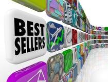 Aplicações da parede da lista de classificação do App dos melhores vendedores Foto de Stock Royalty Free
